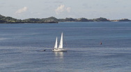 Sailboat off the coast of Grenada Stock Footage