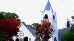 White wedding chapel autumn 05 Stock Footage