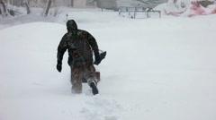 Snow blizzard snowblower fast P HD 8385 Stock Footage