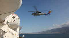 USNS Comfort - Helo Landing with Patients in Port au Prince, Haiti - stock footage
