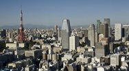 Skyline and Tokyo Tower, Tokyo, Japan Stock Footage