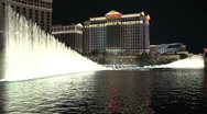 Stock Video Footage of Bellagio fountains Las Vegas at night