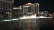 Stock Video Footage of Bellagio fountains Las Vegas at night
