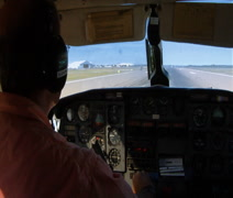 View from the cockpit of small airplane taking off - stock footage