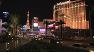 Planet Hollywood Las Vegas at night Stock Footage