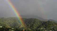 Double rainbow, Roseau, Dominica - stock footage