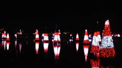 Stock Video Footage of Christmastime dance of the trees - musical light show