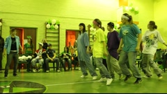Large team of the girls dancing hip-hop Stock Footage