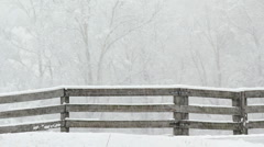 Snowy Fence Stock Footage