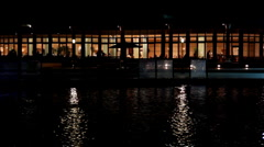 Night view of the restaurant by the pond Stock Footage