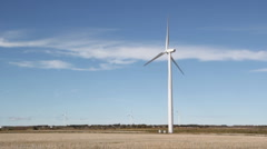 Windfarm. Farmer's fields. Stock Footage