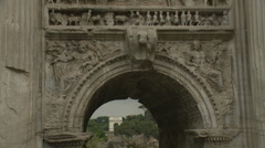 Close up Arch in Roman Forum Stock Footage