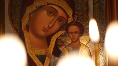Orthodox Icon of Kazan Mother of God Stock Footage