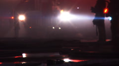 LA Fire crews hoses down fire - LAFD Stock Footage