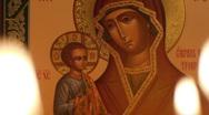 Orthodox Icon of the Blessed Virgin Mary - Troeruchitsa Stock Footage