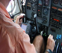Pilot landing small airplane from cockpit  Stock Footage