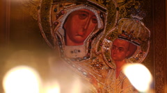 Stock Video Footage of Orthodox Icon of the Mother of God - deliverer from troubles