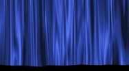 Blue Theater Stage Curtain Rising to Black Matte Stock Footage