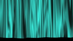 Aqua Theater Stage Curtain Rising to Black Matte Stock Footage