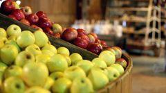 Fresh Green and Red apples at Market Stock Footage