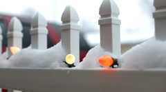 Christmas lights outside in the snow Stock Footage