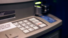 Using Automatic Teller to get Money - stock footage