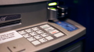 Stock Video Footage of Using Automatic Teller to get Money