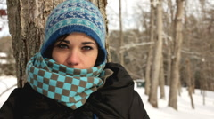 Cose up of Girl with scarf against tree Stock Footage