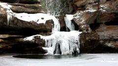 Waterfall in the winter Stock Footage