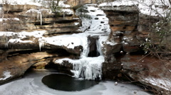 Above view of Frozen Waterfall Stock Footage