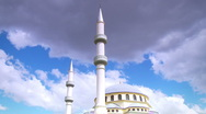 Stock Video Footage of Islamic Mosque, Static and Panned Shot, Religious Building, Muslim