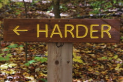 Easier and Harder signs. Two shots. SD. Stock Footage