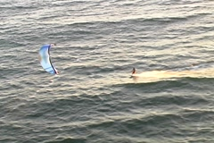 Kitesurf aerial tracking-close Stock Footage
