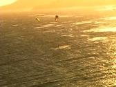 Kitesurf aerial kites golden sun Stock Footage