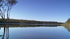 Tranquil Lake Panned - Brown Lake, North Stradbroke Island Stock Footage
