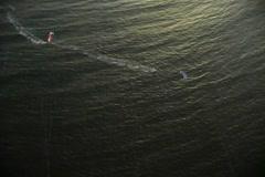 Kitesurf aerial overhead Stock Footage