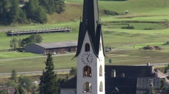 Church tower in Zuoz/Engadin/Switzerland Stock Footage