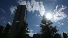 Sun, Building and Tree Stock Footage