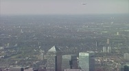 Canary Wharf wide aerial shot Stock Footage