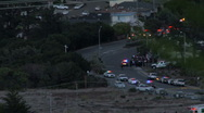 Stock Video Footage of San Bruno fire, base camp on San Bruno Ave, w/ firefighters and police cars