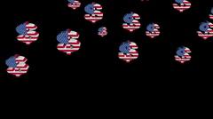 Falling American dollar symbols  animation Stock Footage