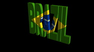 Stock Video Footage of Brazil flag text rotating animation