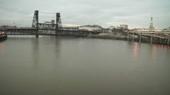 Timelapse of the Wiiamette River in Portland, Or Stock Footage