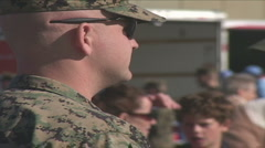Marines encouraging marathon runners Stock Footage
