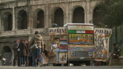 Snack van next to the Colloseum Stock Footage