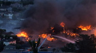 Stock Video Footage of San Bruno explosion and fire, September 2010 high angle shot