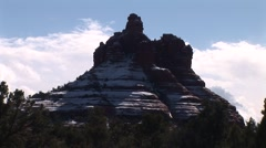 Bell Rock Sedona in Snow timelaspe with clouds Stock Footage