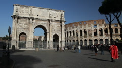 Arch of Constantine and Coliseum, Rome Stock Footage