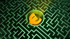 Euro symbol in the maze Stock Footage