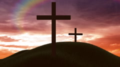 Crosses at sunset Stock Footage